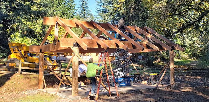 Park pavilion under construction