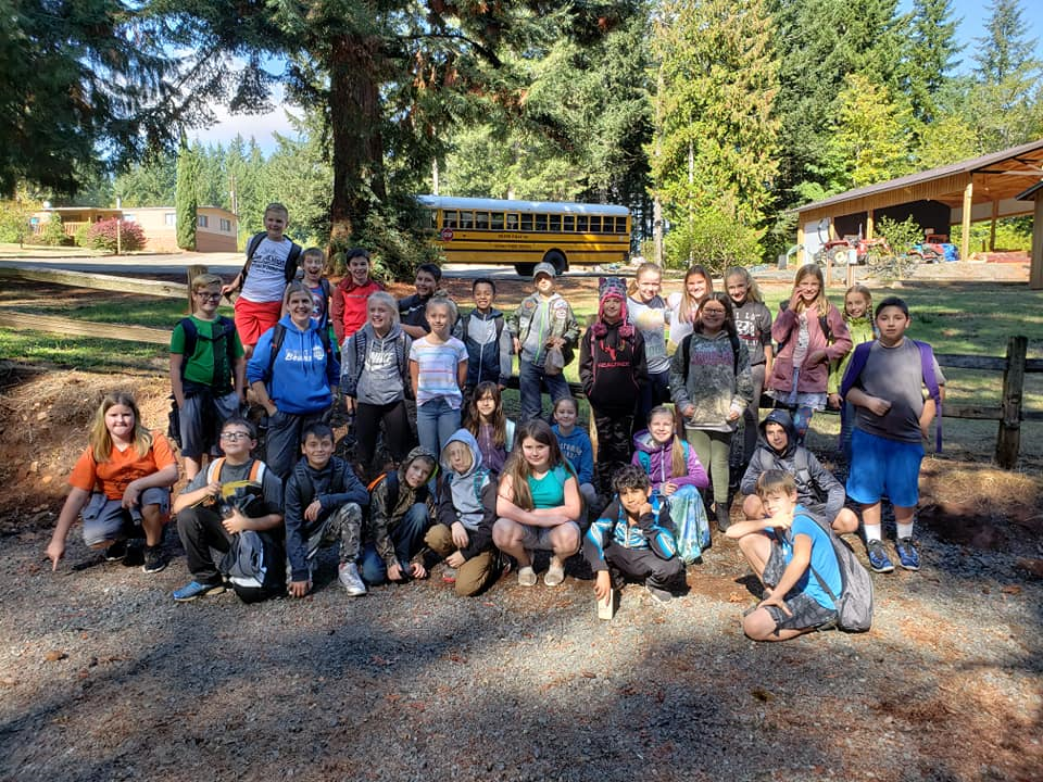 Group of students taking a tour of the forest
