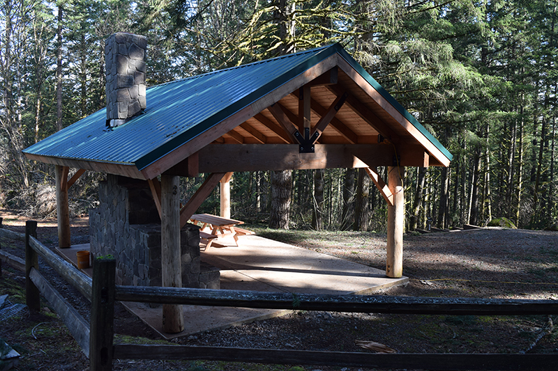 Picture of a park pavilion surrounded by evergreen trees